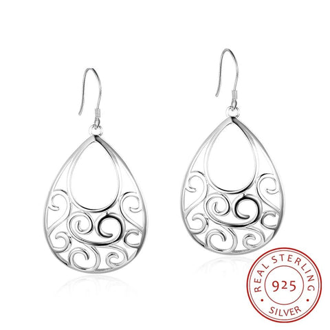 Sterling Silver Hollow Filigree Dangles - Dazzled Jewels Fashion Jewelry and Accessories