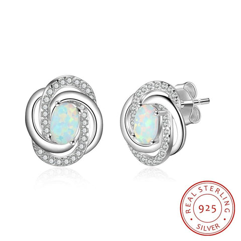 Sterling Silver Opal with Cubic Zirconia Twist Knot Stud Earrings - Dazzled Jewels Fashion Jewelry and Accessories