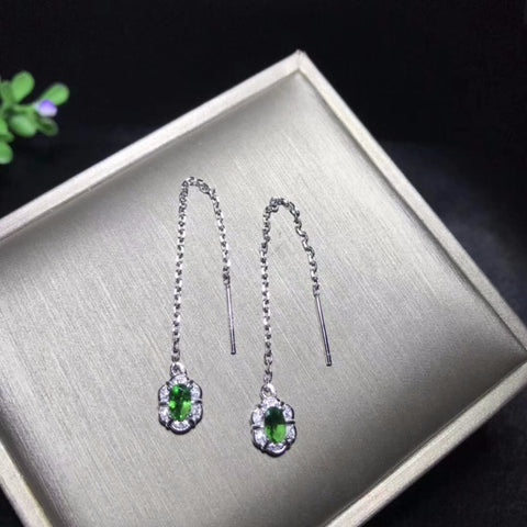 Natural Diopside and CZ Threaded Earrings in Sterling Silver - Dazzled Jewels Fashion Jewelry and Accessories