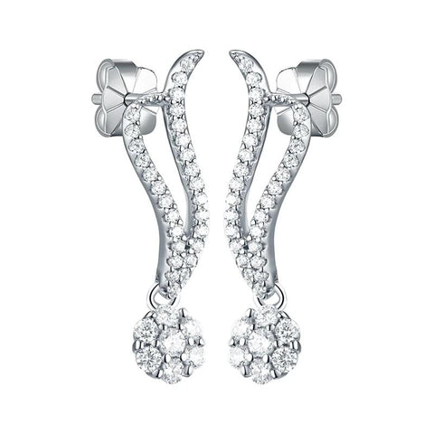 925 Sterling Silver and 0.8 Ct AAA Cubic Zirconia Stud Earrings - Dazzled Jewels