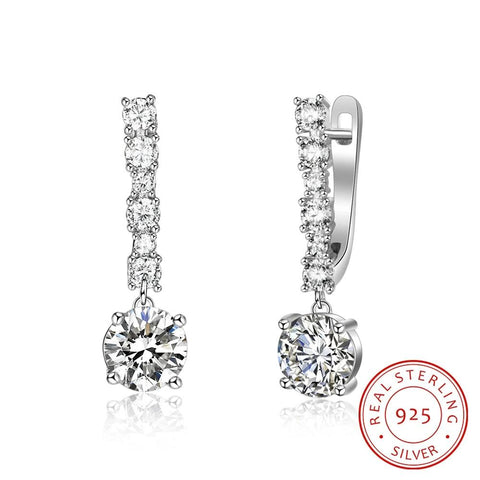 925 Sterling Silver Brilliant Cubic Zirconia Hoop Earrings - Dazzled Jewels Fashion Jewelry and Accessories