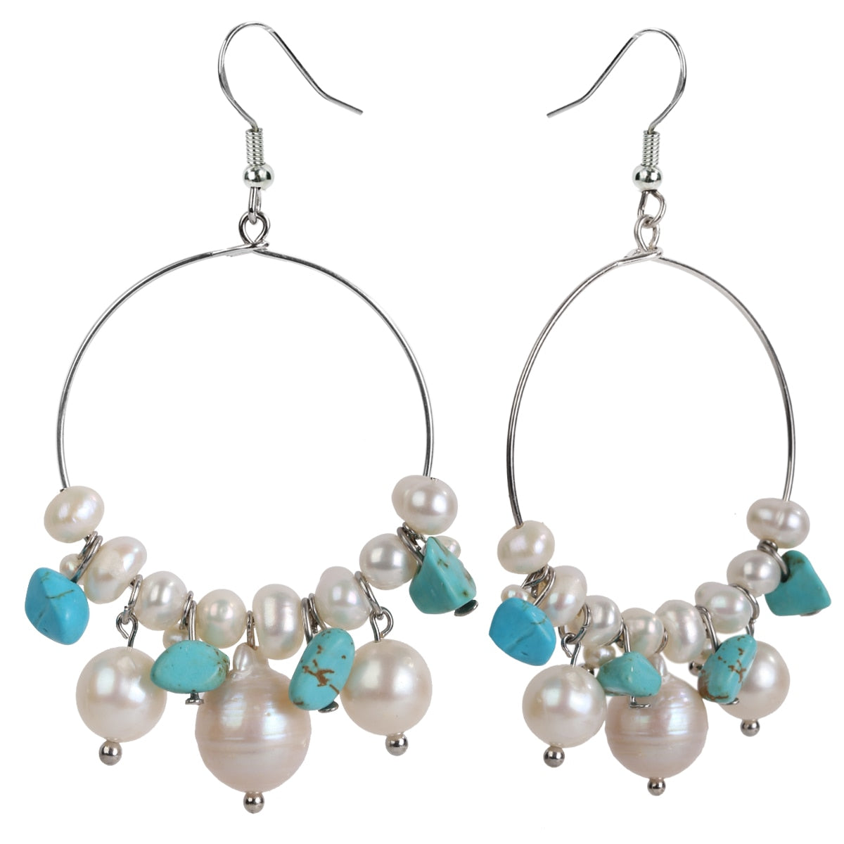 Handmade 925 Sterling Silver Freshwater Pearl & Natural Turquoise Hoop Earrings - Dazzled Jewels Fashion Jewelry and Accessories