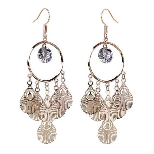 Bohemian Style Cubic Zirconia Dangle Earrings - Dazzled Jewels Fashion Jewelry and Accessories