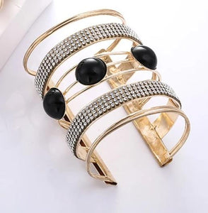 Open Cuff Metal and Rhinestone Bangle - Dazzled Jewels