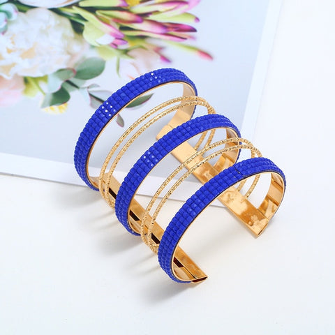 Blue Rhinestone and Gold Color Bangle - Dazzled Jewels