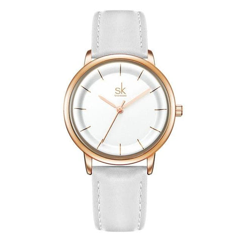 Elegant Ultra Thin Dial Leather Strap Quartz Watch for Women - Dazzled Jewels
