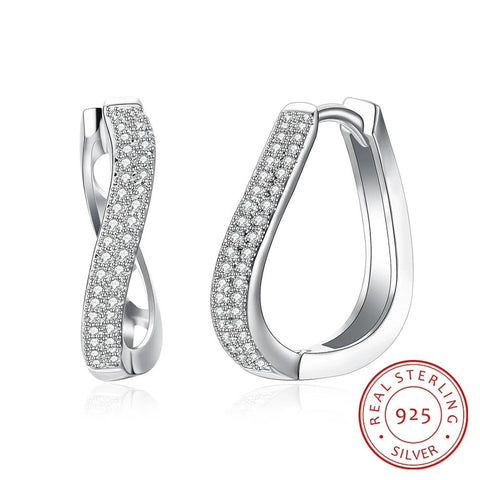 Sterling Silver Curved Hoop Earrings with Zircon - Dazzled Jewels Fashion Jewelry and Accessories