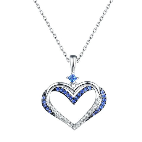 Elegant Sterling Silver Heart Shape White & Blue AAA CZ Pendant - Dazzled Jewels