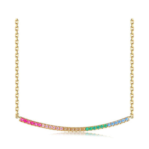 Sterling Silver Colorful Cubic Zirconia Bar Pendant Necklace - Dazzled Jewels