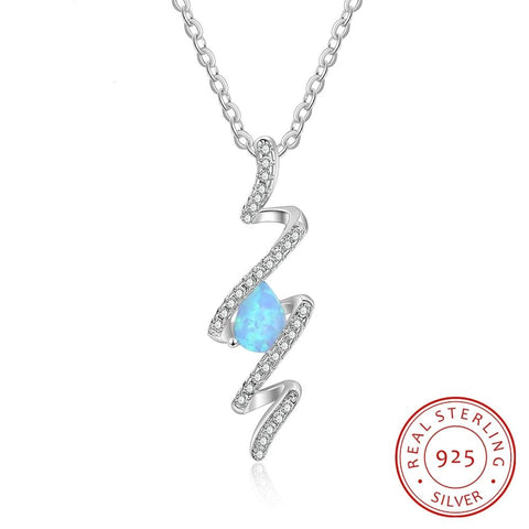 925 Sterling Silver Blue Fire Opal Spiral Necklace - Dazzled Jewels