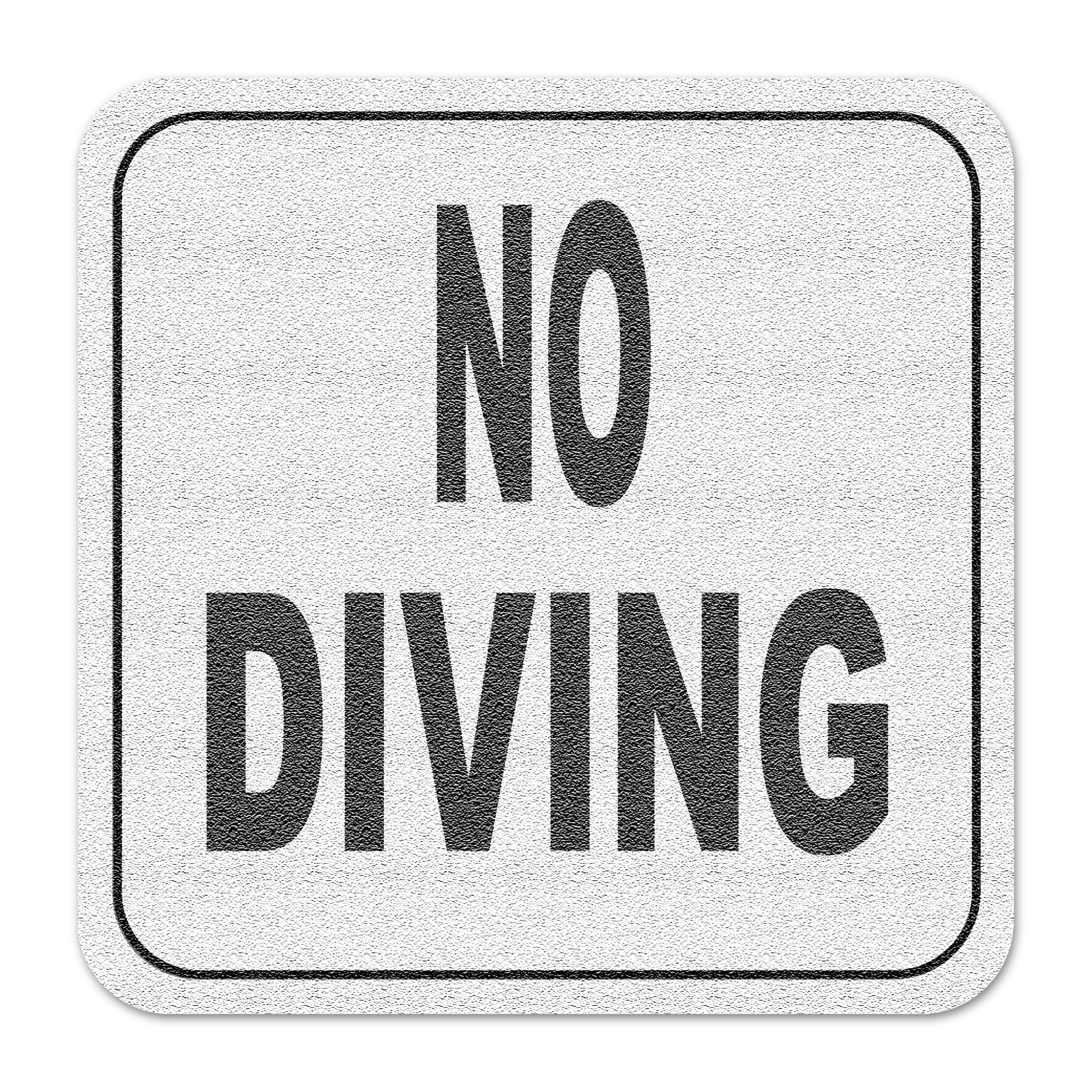 "Vinyl Depth Marker Decal 6X6 "" No Diving (Text Only)"" Abrasive Non Slip Finish"