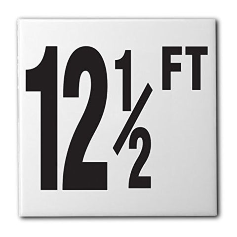 "Ceramic Swimming Pool Waterline Depth Marker ""12 1/2 FT"" Smooth Finish, 4 inch Font"