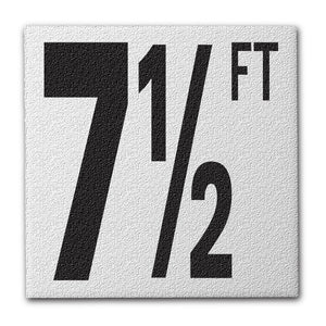 "Ceramic Swimming Pool Deck Depth Marker ""7 1/2 FT"" Abrasive Non-Slip Finish, 5 inch Font"
