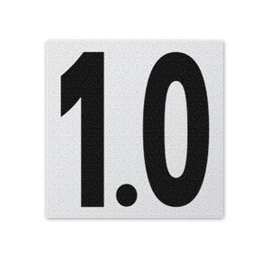 "Ceramic Swimming Pool Deck Depth Marker "" 1.0 "" Abrasive Non-Slip Finish, 5 inch Font"