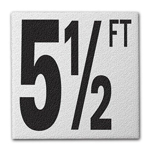 "Ceramic Swimming Pool Deck Depth Marker ""5 1/2 FT"" Abrasive Non-Slip Finish, 5 inch Font"
