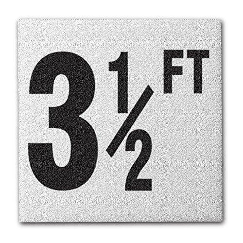 "Ceramic Swimming Pool Deck Depth Marker "" 3 1/2 FT "" Abrasive Non-Slip Finish, 4 inch Font"