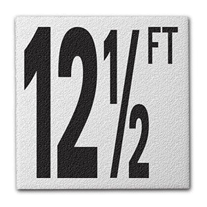 "Ceramic Swimming Pool Deck Depth Marker ""12 1/2 FT"" Abrasive Non-Slip Finish, 5 inch Font"
