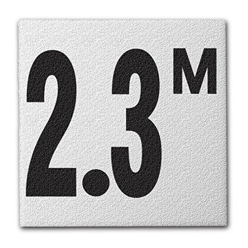 "Ceramic Swimming Pool Deck Depth Marker "" 2.3 M "" Abrasive Non-Slip Finish, 4 inch Font"