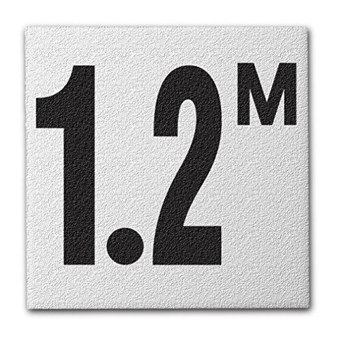 "Ceramic Swimming Pool Deck Depth Marker "" 1.2 M "" Abrasive Non-Slip Finish, 4 inch Font"