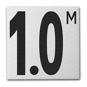 "Ceramic Swimming Pool Deck Depth Marker "" 1.0 M "" Abrasive Non-Slip Finish, 5 inch Font"