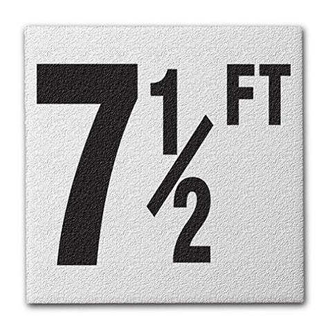 "Ceramic Swimming Pool Deck Depth Marker "" 7 1/2 FT "" Abrasive Non-Slip Finish, 4 inch Font"