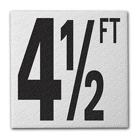 "Ceramic Swimming Pool Deck Depth Marker ""4 1/2 FT"" Abrasive Non-Slip Finish, 5 inch Font"