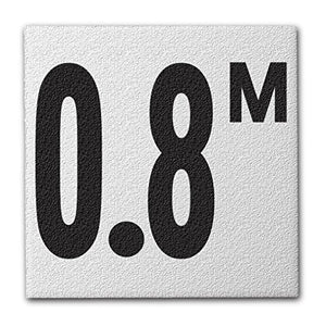"Ceramic Swimming Pool Deck Depth Marker "" 0.8 M "" Abrasive Non-Slip Finish, 4 inch Font"