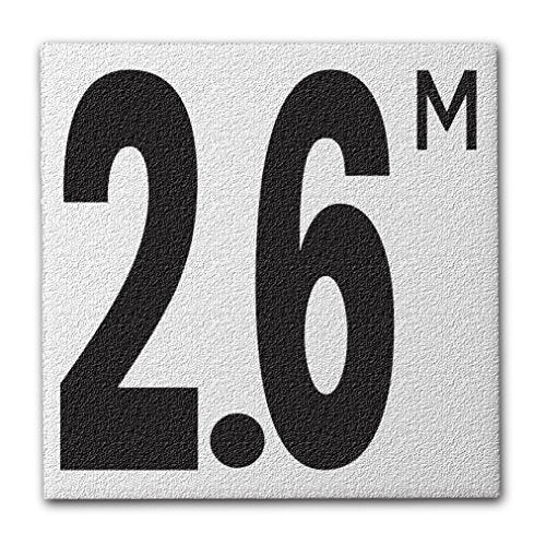 "Ceramic Swimming Pool Deck Depth Marker "" 2.6 M "" Abrasive Non-Slip Finish, 5 inch Font"