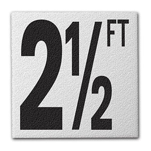 "Ceramic Swimming Pool Deck Depth Marker ""2 1/2 FT"" Abrasive Non-Slip Finish, 5 inch Font"