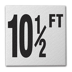 "Ceramic Swimming Pool Deck Depth Marker "" 10 1/2 FT "" Abrasive Non-Slip Finish, 4 inch Font"