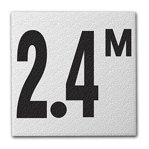 "Ceramic Swimming Pool Deck Depth Marker "" 2.4 M "" Abrasive Non-Slip Finish, 4 inch Font"