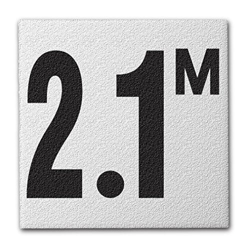 "Ceramic Swimming Pool Deck Depth Marker "" 2.1 M "" Abrasive Non-Slip Finish, 4 inch Font"