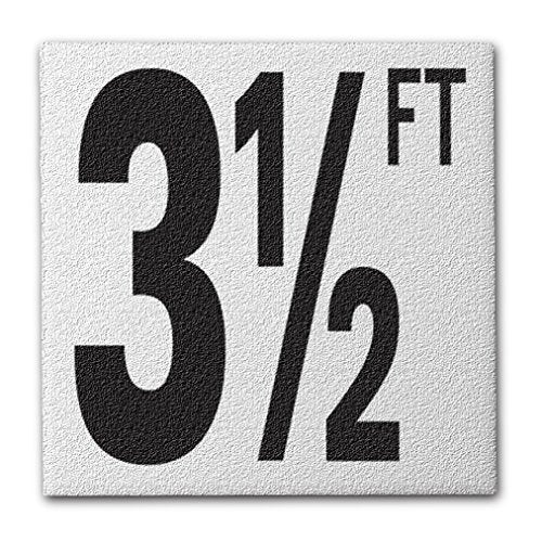 "Ceramic Swimming Pool Deck Depth Marker ""3 1/2 FT"" Abrasive Non-Slip Finish, 5 inch Font"
