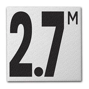 "Ceramic Swimming Pool Deck Depth Marker "" 2.7 M "" Abrasive Non-Slip Finish, 5 inch Font"
