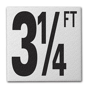 "Ceramic Swimming Pool Deck Depth Marker ""3 1/4 FT"" Abrasive Non-Slip Finish, 5 inch Font"