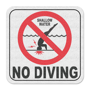"Vinyl Depth Marker Decal 6X6 ""International No Diving (With Image)"" 4 inch font Abrasive Non Slip Finish"