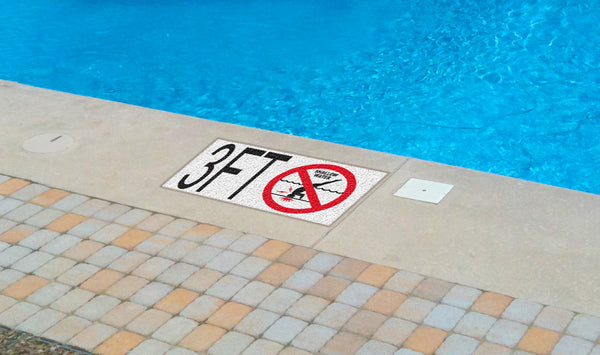 "Ceramic Swimming Pool Deck Depth Marker ""9 FT"" Abrasive Non-Slip Finish, 5 inch Font"