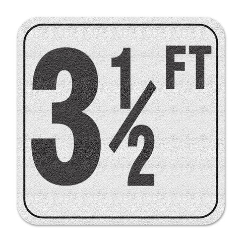 "Vinyl Depth Marker Decal 6X6 ""3 1/2FT"" 4 inch font Abrasive Non Slip Finish"