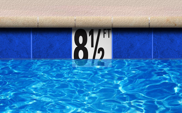 "Ceramic Swimming Pool Waterline Depth Marker ""0 IN"" Smooth Finish, 4 inch Font"