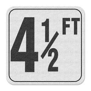 "Vinyl Depth Marker Decal 6X6 ""4 1/2FT"" 4 inch font Abrasive Non Slip Finish"