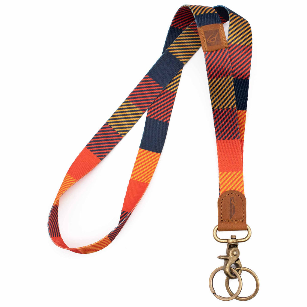 Neck lanyard navy yellow orange square design brown leather hardware metal clasp with 2 key rings