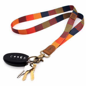 Multi color neck lanyard autumn colors with keys and car key