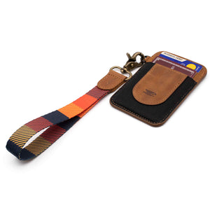 Navy orange yellow multicolor wrist Lanyard with brown slim keychain wallet