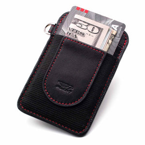 Slim black credit card holder displaying money credit cards on the front pocket