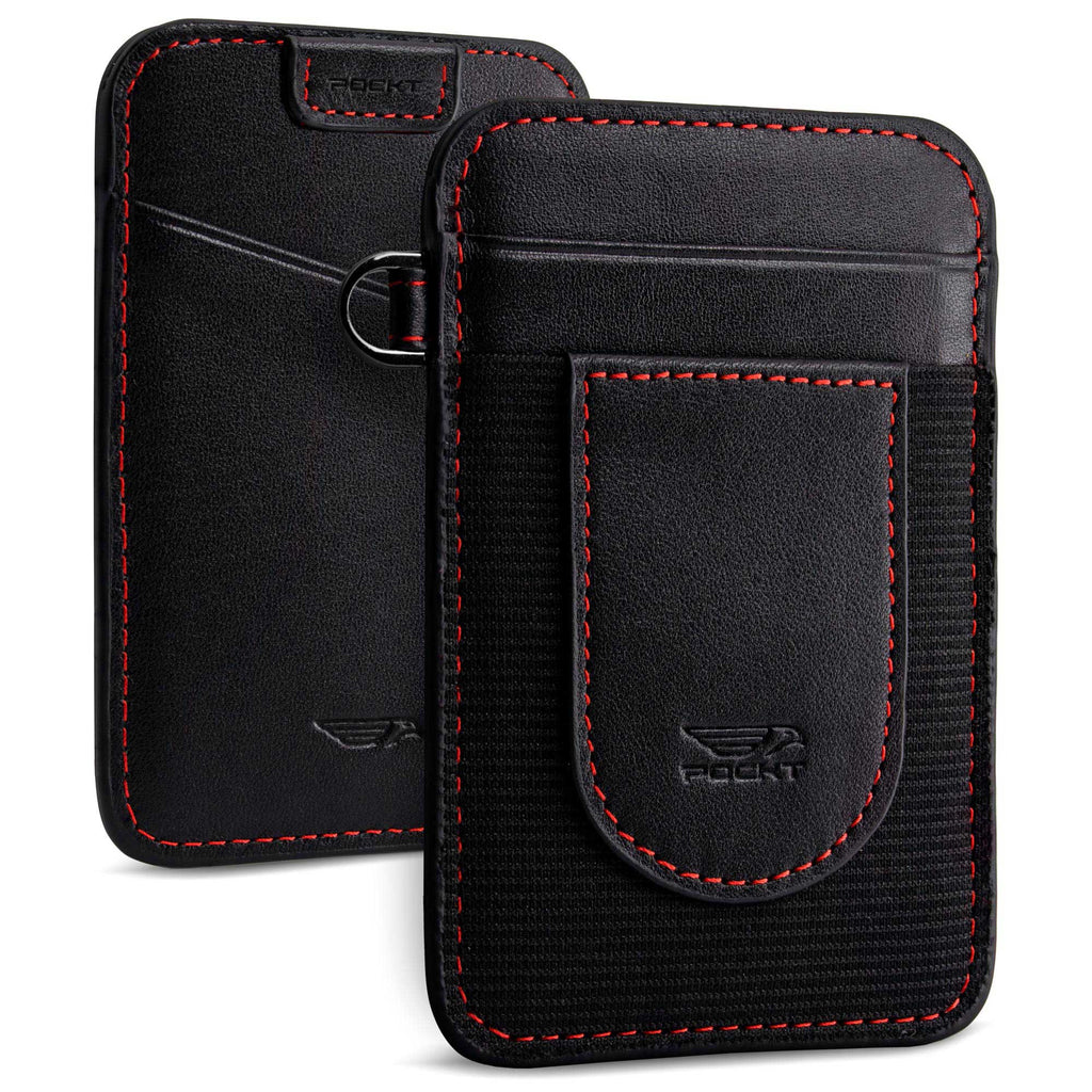 Genuine leather elastic wallet for men black with red stitch vertical slim design view front and back