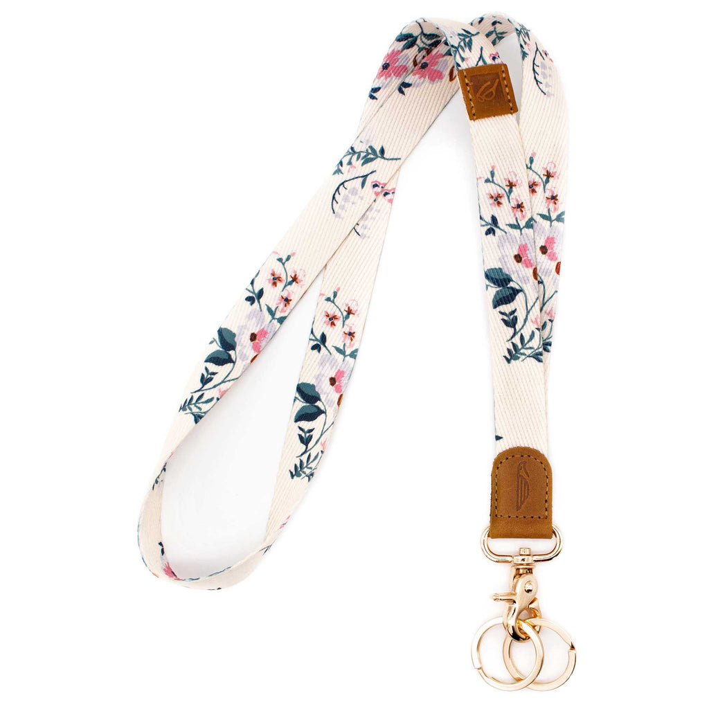 Neck lanyard white pink navy floral design brown leather hardware gold metal clasp with 2 key rings