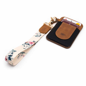 Creme pink floral patterned wrist Lanyard with brown slim keychain wallet