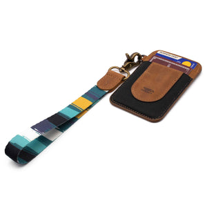 Navy mint yellow multicolor hand wrist lanyard with slim keychain wallet and 2 key rings