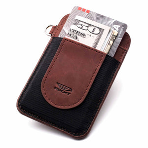 Slim plum credit card holder displaying money credit cards on the front pocket