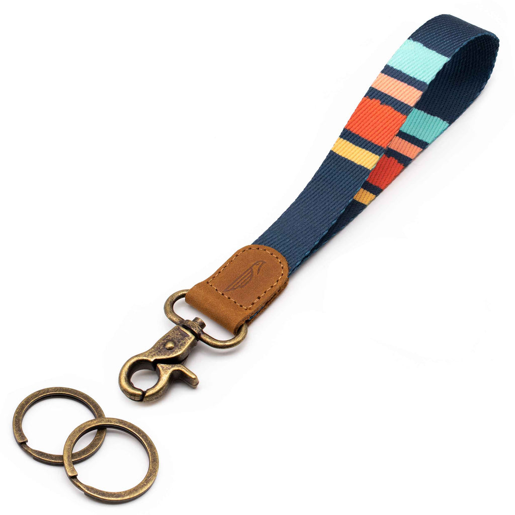 Wrist lanyard navy blue red striped design brown leather hardware vintage metal clasp with 2 key rings